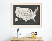 USA Travel Map Wall Art Print, Personalized Travel Map, 24x18, Kid's USA Map, Gender Neutral Nursery, Customized, United States of Ameri