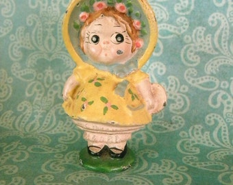 Vintage 1930's Hubley Cast Iron Paperweight Dolly Dimple Kewpie or Sunbonnet Sue Chloe Preston