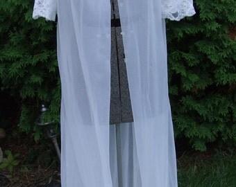 White Chiffon and Lace Peignoir (Vintage)