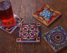 Stone coasters - Mexican tile design