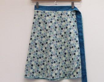 S/M Asian Calico Skirt with Teal Sash, A Line Skirt, Wrap Skirt, Short Wrap Skirt, One Size Fits Most
