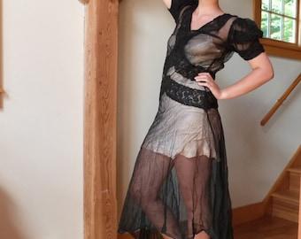 Transparent Black Dress Burlesque Cover Up