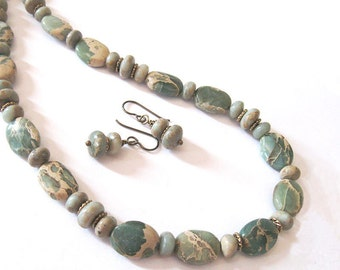 Impression Jasper Necklace and Earring Set, Aqua Terra Jasper Earthy Natural Jewelry, Boho Southwestern Style, Sage Green and Tan