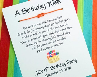 A Birthday Cake Wish - Infinity / Sailor Knot Wish Bracelet - Party Favor Custom Made for You