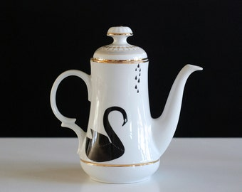 SALE! Large black swans teapot monochrome black and white