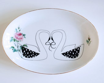 SALE! Swan couple and rose screenprinted platter vintage black and white love wedding marriage