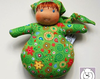 Waldorf inspired Mini Baby ,Green with Flowers