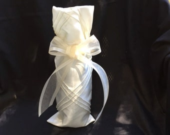 FREE SHIPPING!  I do!  I do!  Dressy ivory satin Wine Wrap/Wine Bag with sheer ivory ribbon for or a wedding or shower gift