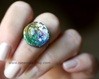 Harajuku Street Fashion, Rainbow Glitter Resin Ring, Multi Color Resin Rainbow Ring, Cute Resin Ring, Adjustable Ring, Rainbow Resin Ring