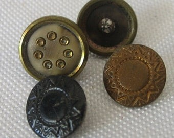 Lot of 4 ANTIQUE Small Metal & Celluloid BUTTONS