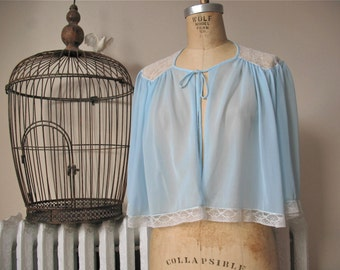 Stella   Vintage 1960s Light Blue Nylon Tricot Bed Jacket with Ivory Lace Shoulders and Self Tie Closure- Rogers Run-Proof