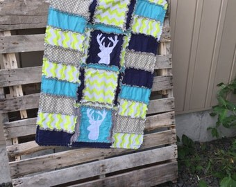 Stag Baby Quilt With Deer Silhouette in Turquoise, Green, Gray, and Navy Blue, Baby Boy Woodland Nursery - Mini Crib Bedding for Boy Nursery