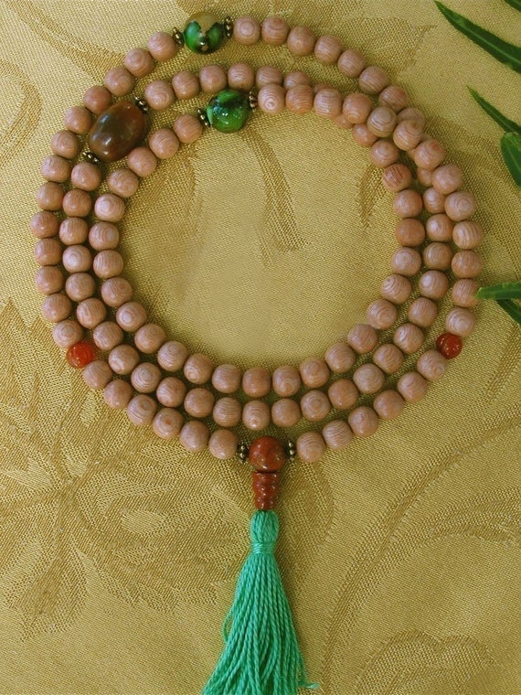 Rosewood Mala Necklace with Carnelian and Red Jasper - Wood Buddhist Prayer Beads
