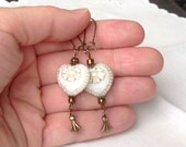 Reserved for Caroline oO IVORY HEART Oo white lucite copper czech glass earrings