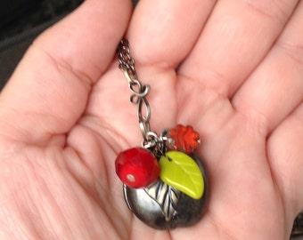 oO HAPPY APPLE Oo gunmetal locket red/green necklace