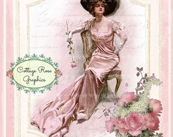 Vintage Paris French Pink Parlor Harrison Fisher pink Roses digital download ECS buy 3 get one free single image Victorian lady