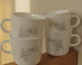 Set of Four CORNING Glass Cups/Mugs with Grey Rose