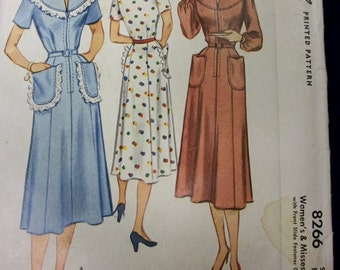 Vintage McCall 1950 Sewing Pattern . 8266 . Uncut Dress Pattern with Front Slide Fastener Closing . Size 16