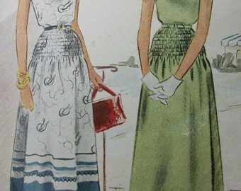 Vintage 1940s McCall Sewing Pattern . Dress with Shirred Waist . Junior Size 15 Bust 35