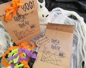 Halloween Trick or Treat Spider Candy Bags with Ribbons - Set of 10 - Choose Ribbons - Halloween Wedding Favor Trick or Treat