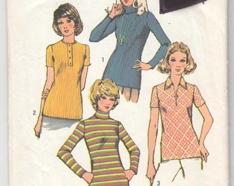 1970's Vintage Sewing Pattern Ladies' Shirts Simplicity 5185 36 Bust- Free Pattern Grading E-book Included