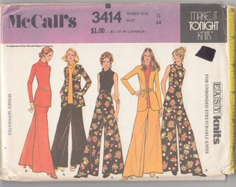 "Vintage Sewing Pattern 1970's Dress, Blouse, Pants McCall's 3414 34"" Bust- Free Pattern Grading E-book Included"