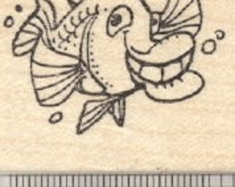 Grinning Fish Rubber Stamp D28423 Wood Mounted