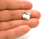 Apple Charms Set of 8 Silver Color 12x13mm