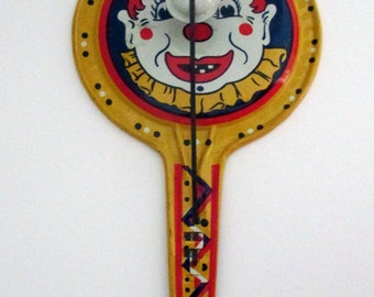 Vintage 1950s Kirchhof Tin Clown Noisemaker