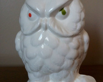 Vintage All White Halloween Owl Figurine