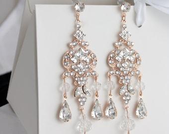 Chandelier Wedding Earrings Rose Gold Bridal Earrings Long Vintage Art Deco Swarovski Crystal Rhinestone Earrings  CLARISSA Wedding Jewelry