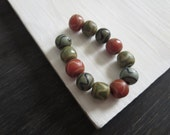 round lampwork glass beads, matte orange green and grey blue ethnic beads with motif, rustic gritty look, Indonesian  (12 beads)  6bb3-mix