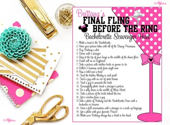 Items Similar To Disney Bachelorette Party Scavenger Hunt Personalized And Printable On Etsy