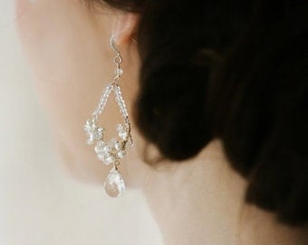 Bridal Dangling Freshwater Pearl Earrings with Quartz Briolette
