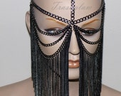 Tribal fusion gun metal chandelier Face chain harness jewelry headdress belly dance