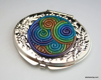 SALE Fimo Compact Mirror in Peacock Colors Filigree Clearance