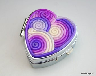 Fimo Heart Pill Box in Purple Filigree Valentine's Day Gift