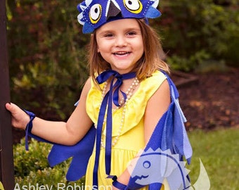 RIO Blue Macaw *  Bluejay Play Costume Bird Wings with Headpiece - Kid's Costume Fleece BlueBird Wings and Headpiece