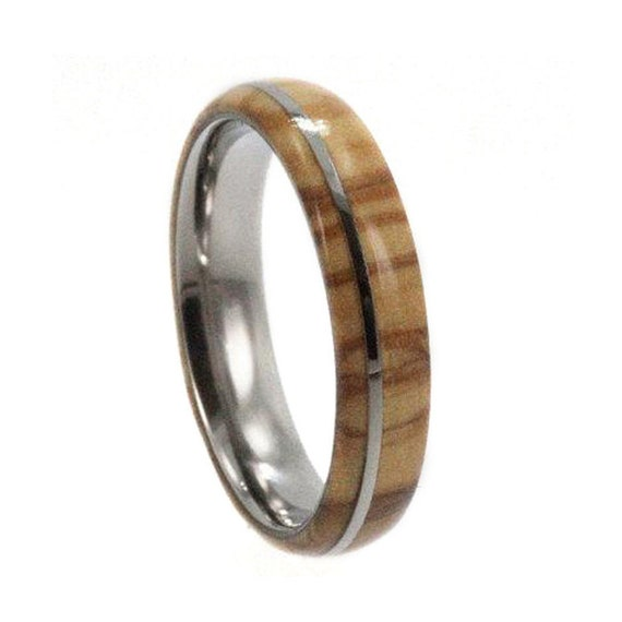 Olive Wood Ring - Highly Figured Inlay with Titanium Pinstripe Band - For Women and  Men, Ring Armor Included