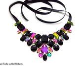 Black Rhinestone Bib Necklace, Rainbow Vitrail, Jewels, Floating Illusion, Elegant Fashion Statement, Bridesmaid Jewelry