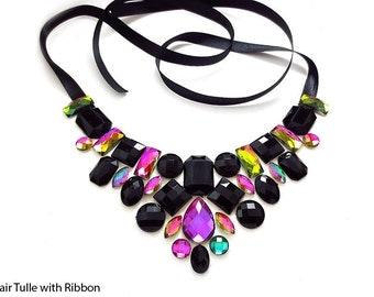 Black Rhinestone Bib Necklace, Colorful Rhinestone Bib Necklace, Elegant Fashion Bib Necklace, Black Rainbow Statement Necklace