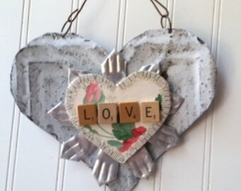 Mixed media LOVE heart sign ornament Upcycled vintage tin heart folk art heart wall hanging with prism key Valentine's Day 10th anniversary