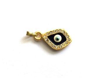 1pc- Matte Gold Plated Crystal Evil Eye Charm-25x15x3mm-(010-046GP)