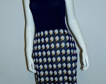 vintage 70s MOD mini dress / navy PoorBoy rib / cloud print skirt XS
