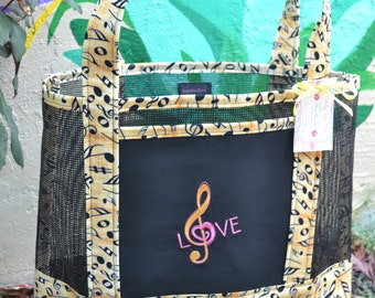 Tote Bag Embroidered Treble Clef Love Music Musical Notes Fabric and Vinyl Mesh