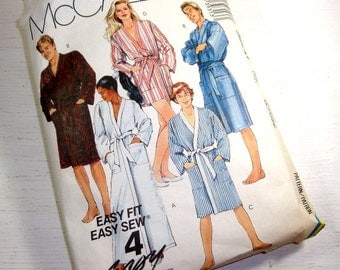 Vintage McCall's Sewing Pattern #3931, 1988, Easy Fit Easy Sew, Robe for Misses, Men, Teen Boy, Three Lengths, Long Sleeve, Pocket  (792-15)