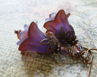 Plum Berry Flower Earrings with Crystal and Antique Copper