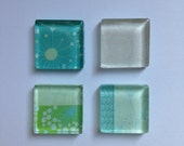 4 Square Glass Magnets - Blue Green Pink Circles Hearts Bubbles - Kitchen - Home - Office - Favors - Command Center