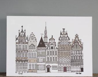 Antwerp Print // A4 Skyline Architecture Illustration