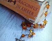 Outlander Bracelet - Dragonfly in Amber Bracelet -  Amber Bracelet - Diana Gabaldon Inspired - Outlander Jewelry - Outlander Theme Bracelet